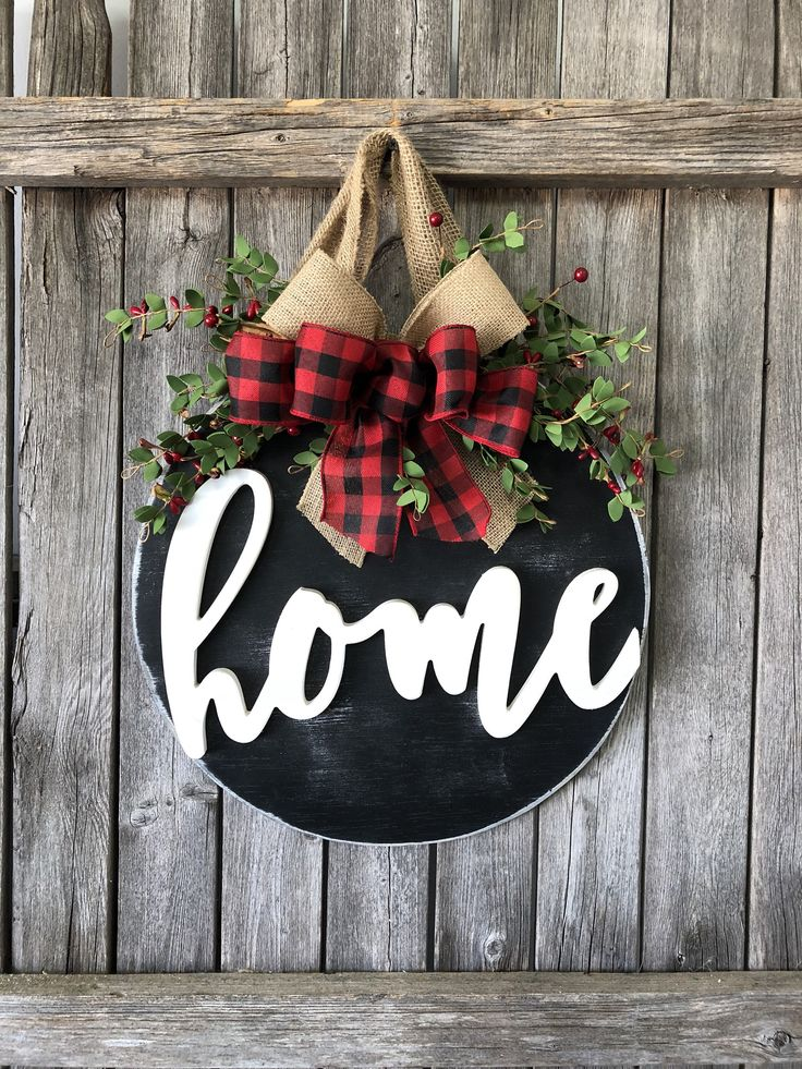 Christmas Home Sign Buffalo Plaid Front Door Decor Door
