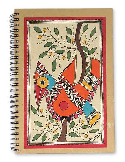 Handpainted Bird Journal 40 Pages of Handmade Paper - Mango Bird | NOVICA
