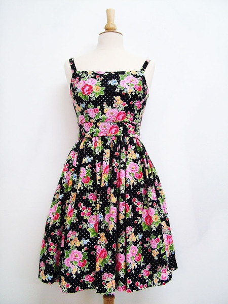Sweet William dress strawberry flowers- black