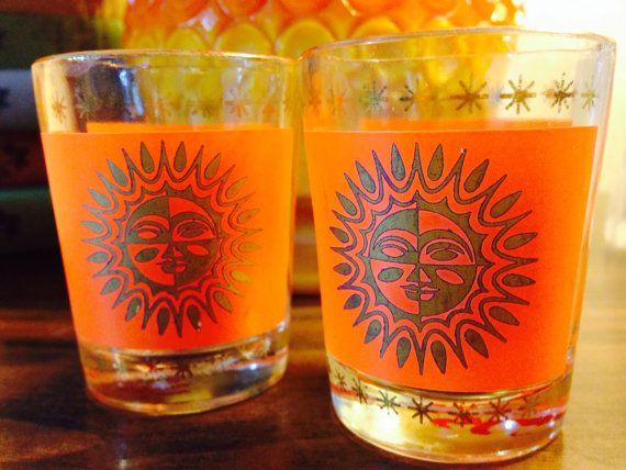 Vintage Midcentury Orange And Sunburst Shot Glasses by GoPlethora