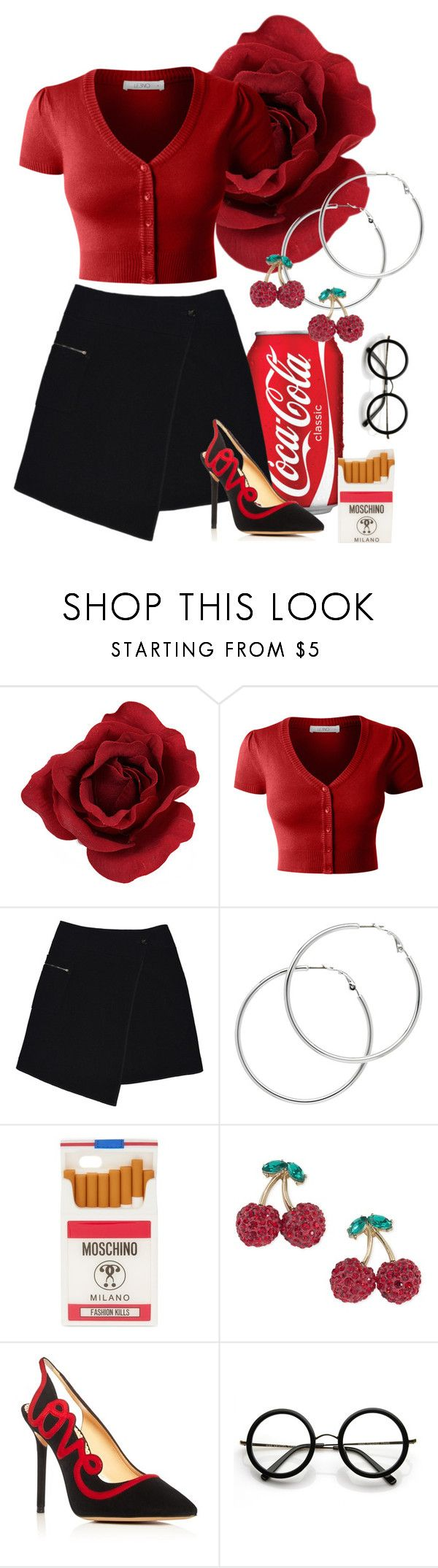 """Untitled #404"" by sarahs884 ❤ liked on Polyvore featuring LE3NO, MARC CAIN, Melissa Odabash, Moschino, ABS by Allen Schwartz, Charlotte Olympia and ZeroUV"