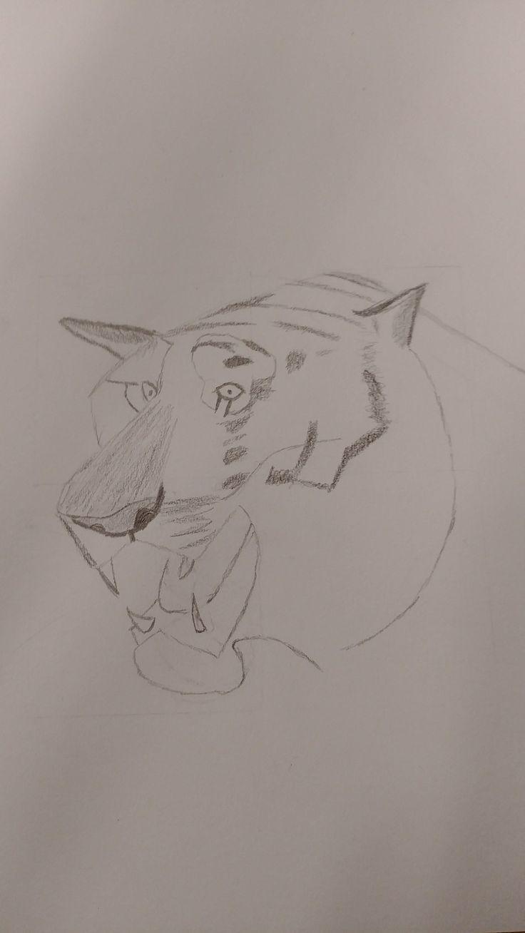 Dit was mijn tekening na de derde les ik heb hier de neus wat beter bewerkt an alvast een begin gemaakt aan de strepen van de tijger