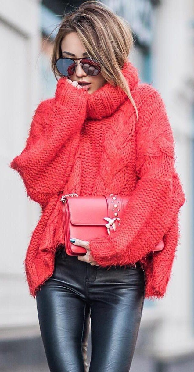 #winter #fashion /  Red Knit Turtleneck + Leather Leggings