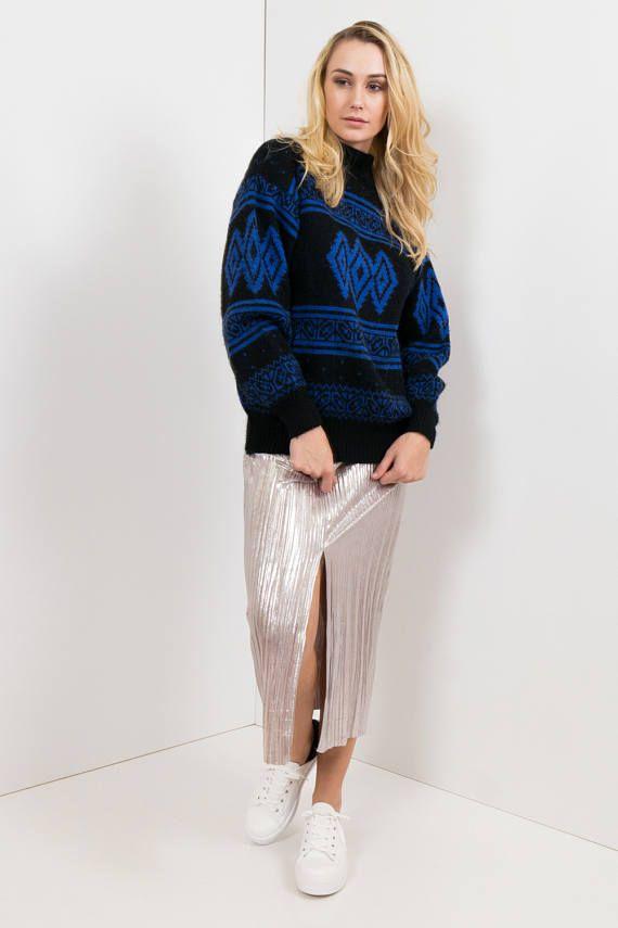 90s Vintage Patterned Knit Sweater / Black & Blue Argyle, Oversized Dad Sweater, Winter,  Handsome label