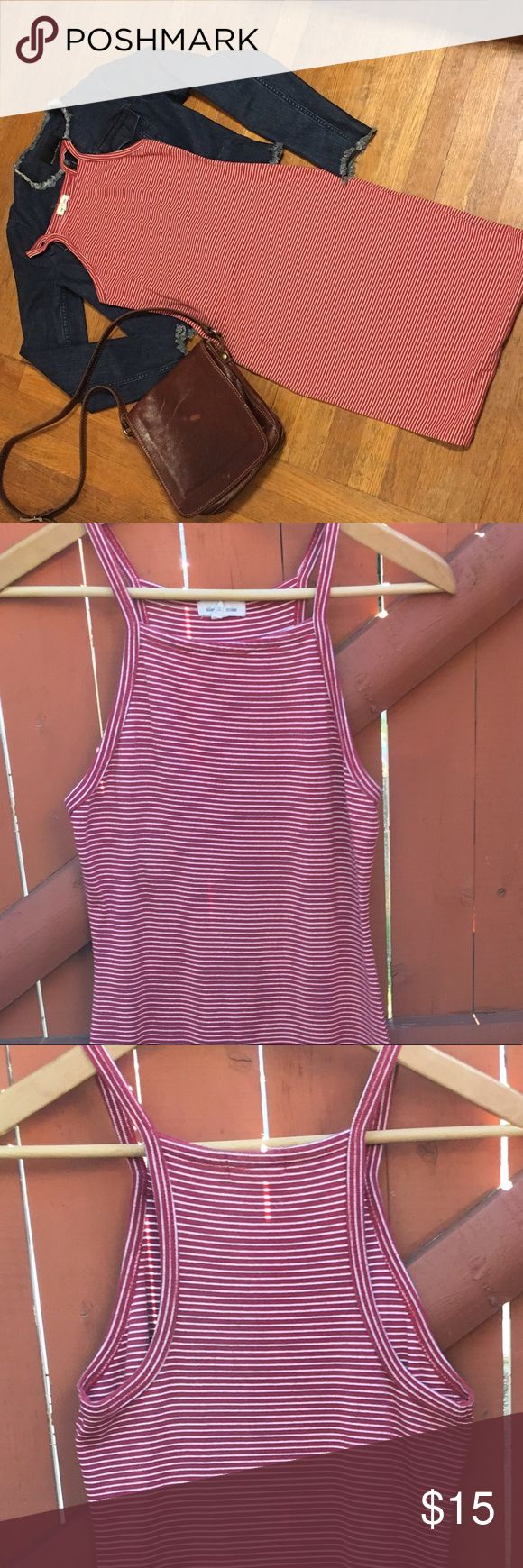 Urban Outfitters Striped Tank Midi Dress -EUC This dress is fitted, with red and white striped. Pretty versatile and great for early fall   Try it out with some denim and camel boots. Or sandals and a beach bag! 😉 Urban Outfitters Dresses Midi