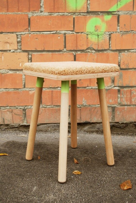 Marco stool- pure, light, minimal, with a comfortable seat in natural cork that makes it water-repellent and particularly durable. Various colors available on ubikubi.ro