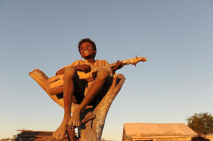 Happy African child playing