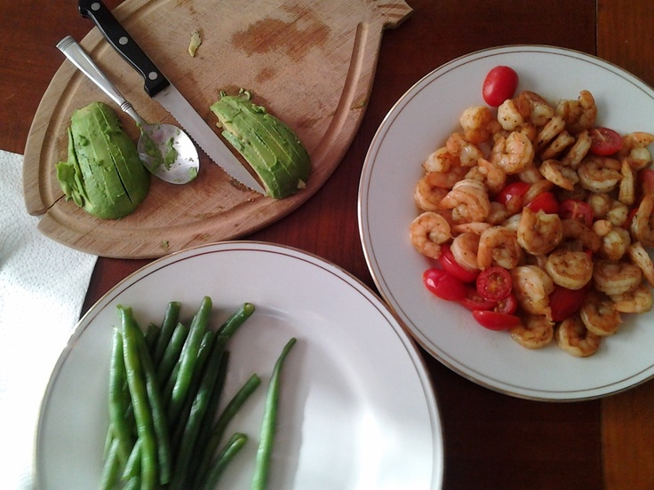... long day. Green beans, roasted tomaters, spicy shrimp and avocado