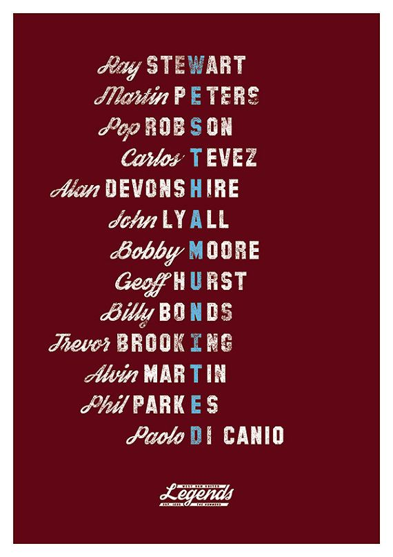 West Ham United FC Legends Poster A3 420 x by headfuzzbygrimboid