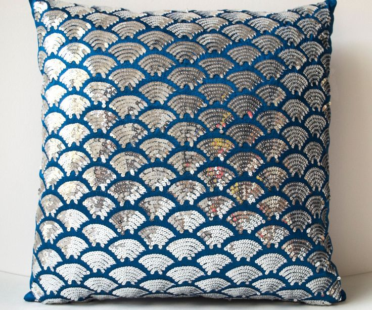 Blue Silk Silver Scales Scalloped Sequin Pillow Cover Sashiko Cushion Covers