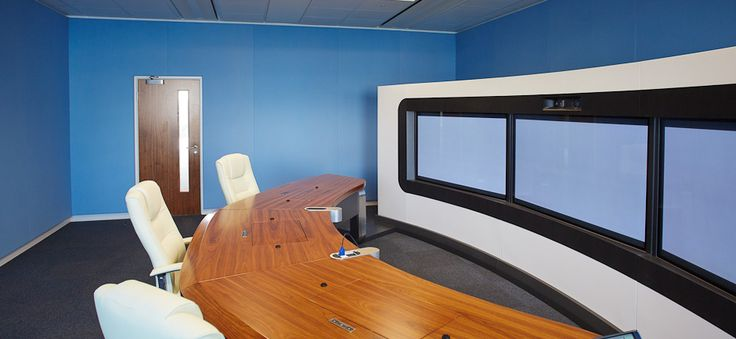 Stretched fabric wall for TelePresence Room Huawei, London.