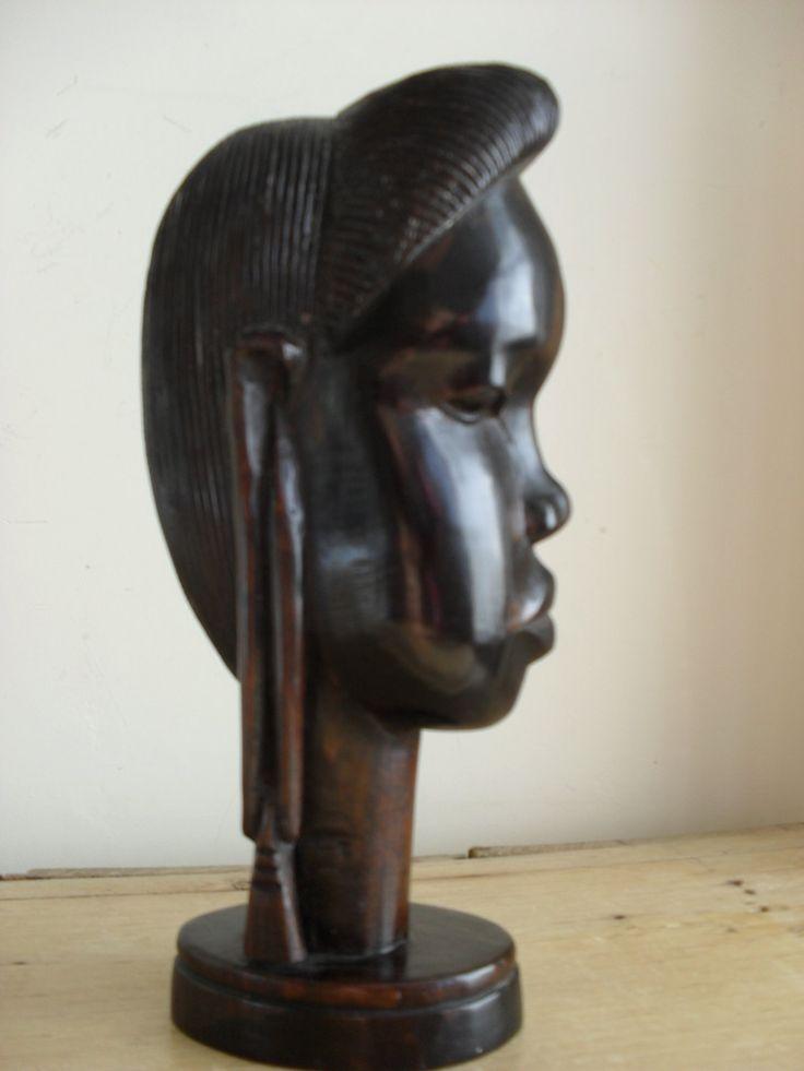 African carving dark wood kenyan tribal