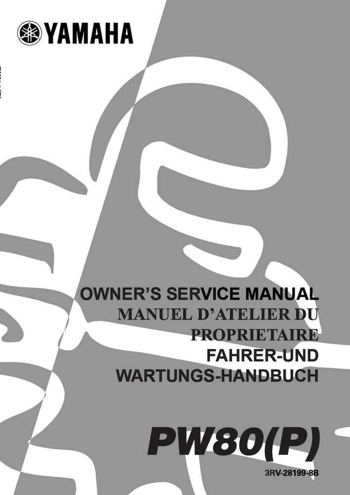 New Yamaha Pw80 P 2002 Multi Lingual Owners Service Repair Manual 3rv 28199 8b