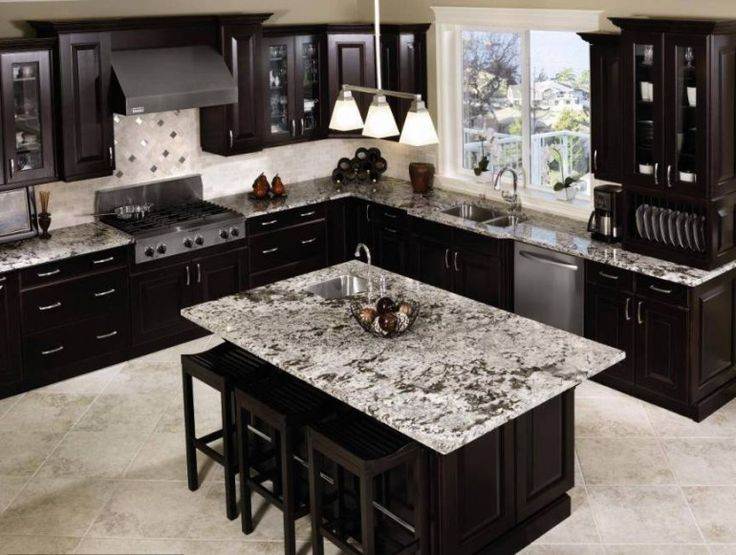 Black Cabinets with grey granite... with Stone blue walls, would have to do grey wood tile floor with less 'design' in the grain