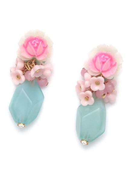 vintage roseとmini flowerのピアス(ピアス)|Michu coquette(ミチュ コケット)|ウサギオンライン公式通販サイト