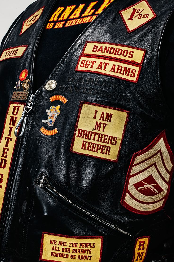 In Chapter 1, Butch Cobb comes home and takes off a leather cut much like this one, with patches signifying his chapter, his position as club prez, and his accomplishments.
