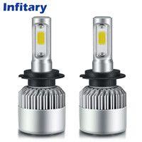 2 Pcs Super Bright 9004 LED Car Headlight Bulb Hi/Lo Beam 72W 8000LM 6500K Auto Headlamp HB1 COB LED 12V Fog Light Automobiles