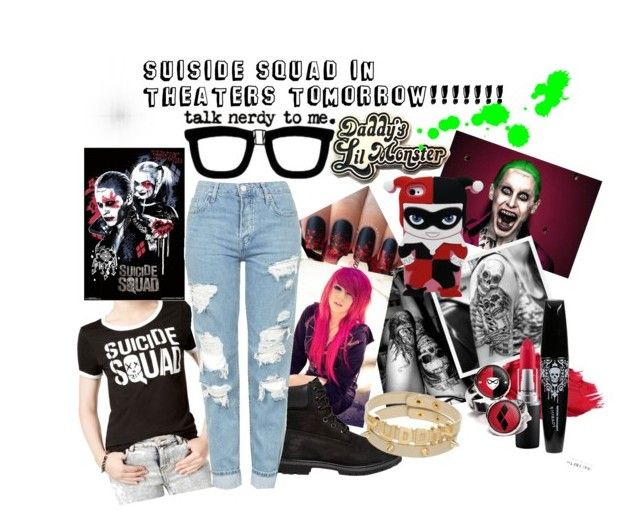 """""""SUISIDE SQUAD!!!"""" by uniquelystrange ❤ liked on Polyvore featuring Bioworld, Urban Decay, Timberland, MAC Cosmetics and Topshop"""