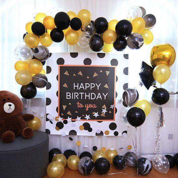 Gold Black Birthday Decoration Set Balloon Garland Birthday