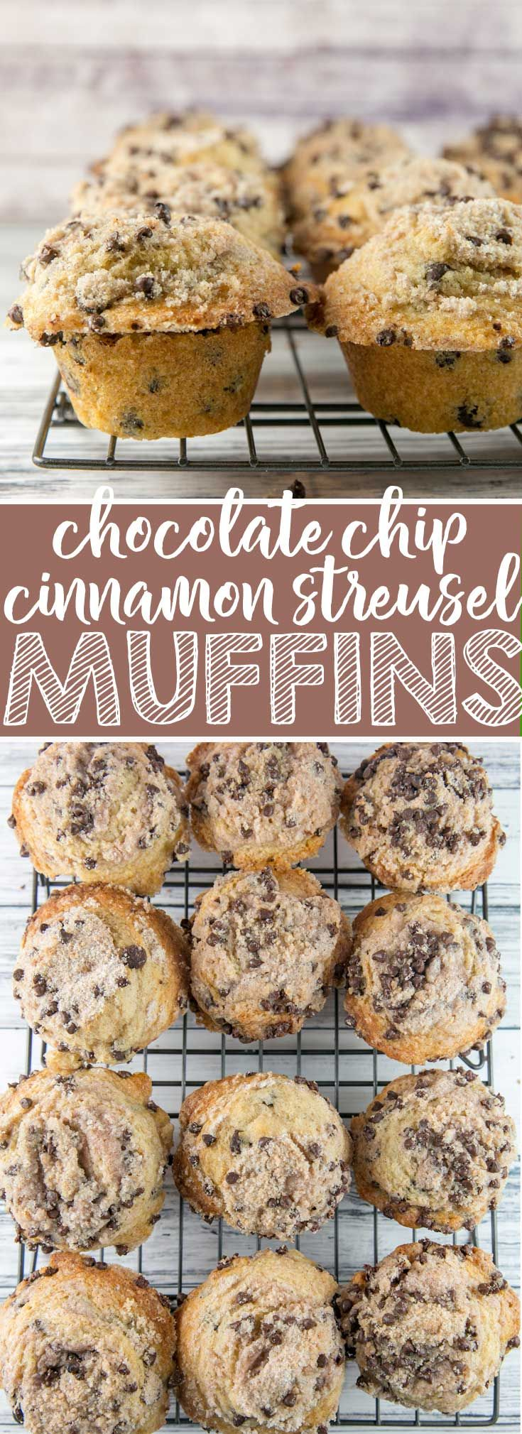 Chocolate Chip Streusel Muffins: filled with chocolate chips and covered with a crunchy, chocolatey streusel topping, these muffins are perfect any time of day.  Plus tips for baking jumbo-sized bakery style muffins at home! {bunsenburnerbakery.com} #muffins #chocolatechips  via @bnsnbrnrbakery