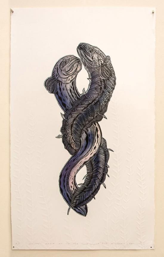 ARTIST A/P - EELS | Emboss/Stencil/Woodcut Paper Dimensions: 600mm x 1000mm $1150 Unframed $1500 Framed | Flox.co.nz