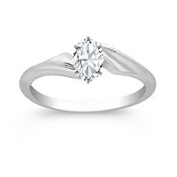 Swirl Solitaire 14k White Gold Enagement Ring (setting $295) Oval stone