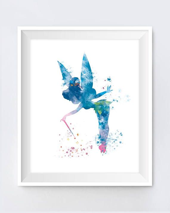 Tinkerbell Print Tinkerbell Poster Gift Disney Watercolor Art