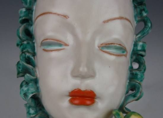 Austrian Goldscheider ceramic wall mask, 1920s-30s.