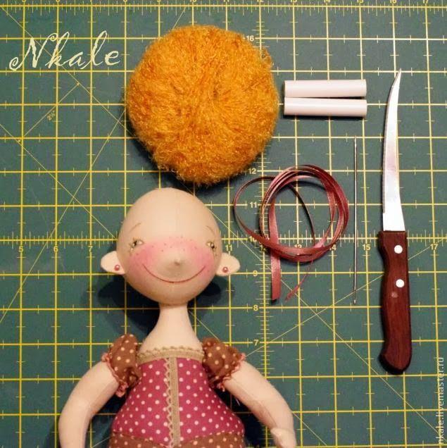 Mimin Dolls: Tutorial to add doll hair (yarn)