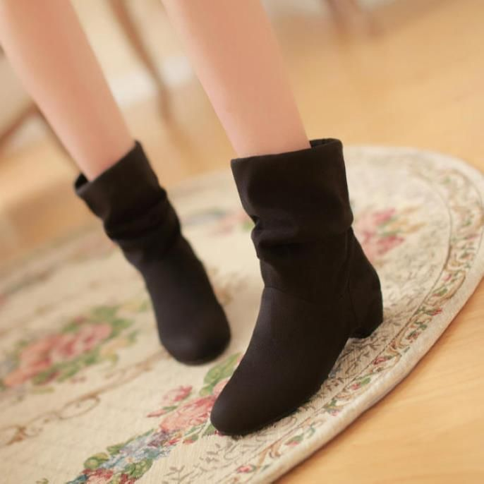 2015 New Fashion Lady Martin Boots Real Medium(b,m) Adhesive Slip on Ankle Women's Shoes Elastic Boot Thick Heel Short Ru300-in Women's Boots from Shoes on Aliexpress.com | Alibaba Group