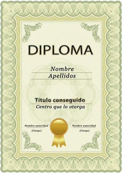 Diploma para curso o estudios, plantilla PSD, vertical
