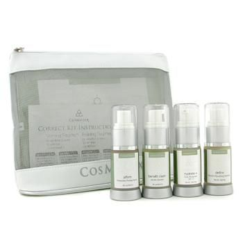 CosMedix The Most Effective Corrective Kit: Benefit Clean Cleanser+ Affirm Serum+ Hydrate Moisturizer+ Define Treatment+ Bag 4pcs+1bag