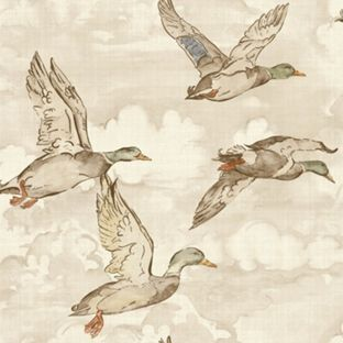 Gran Deco Flying Ducks Wallpaper Neutral from Homebase.co.uk