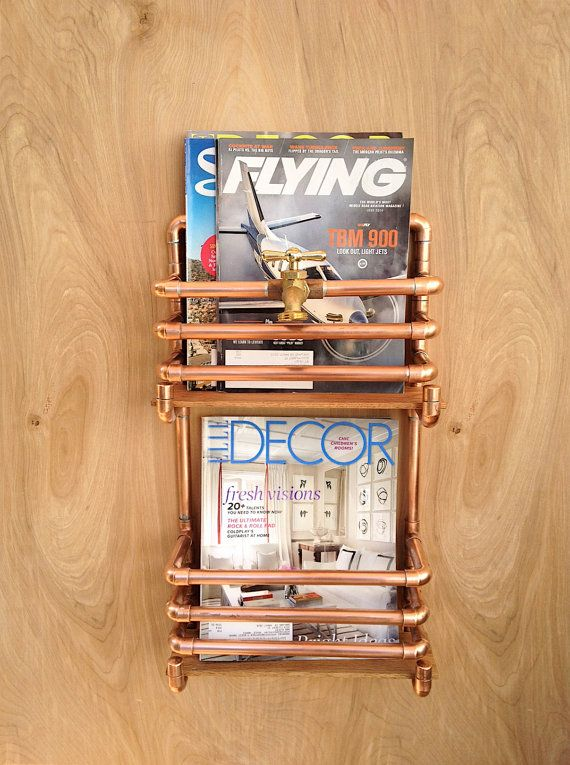 Storage, Organization, Wall mounted Industrial Magazine Holder, Magazine Rack, Shelf, Book Rack, Copper Pipe Rack, Man Cave, Gift for Him, Industrial