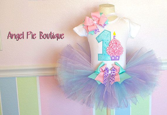 """Baby Girl's First Birthday Outfit - No. """"1"""" Applique with Small Cupcake Onesie, Tutu & Matching Hair Bow on Band - Aqua, Lavender and Pink on Etsy, $60.99"""