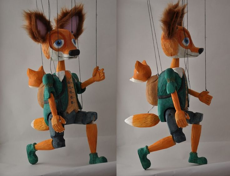 Fox with its baby fox, wood marionette, puppet, acrylic colours, leather ears, linden wood and love :)