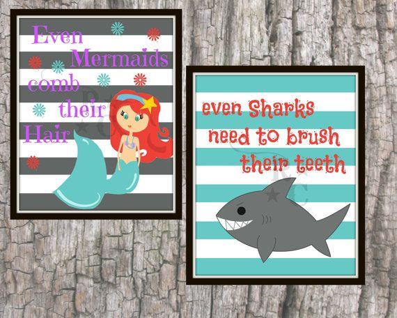 Mermaids Sharks brush teeth hair boys girls by Raising3Cains