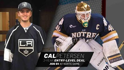 Kings Agree To Terms With Goaltender Cal Petersen On A Two-Year Entry-Level Contract