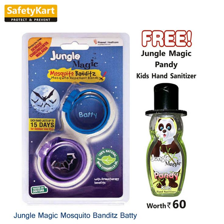 Jungle Magic Mosquito Banditz Batty Mosquito Repellent bands are a revolutionary mosquito repellent product for children over 3 years. Make your kids wear this Mosquito Repellent band on the wrist or the ankle to ensure complete outdoor protection against mosquito bites. It comes medically coated with citronella oil that helps to repel mosquitoes and helps your children to be safe from deadly illnesses caused by mosquitoes such as malaria, chikungunya and dengue.#KidSanitizer #Junglemagic