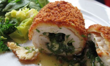 Perfect Chicken Kiev.  It's chicken breast, stuffed with butter. WTF.  Why have i not eaten this before???