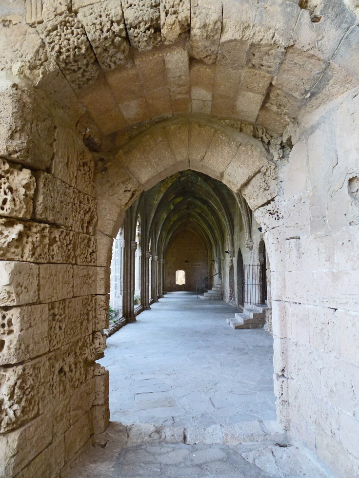 Cloister, ruins, Bellapais Abbey, Kyrenia, North Cyprus. You get wonderful views of Kyrenia and the Mediterranean from Bellapais and it is an incredibly peaceful place to visit.
