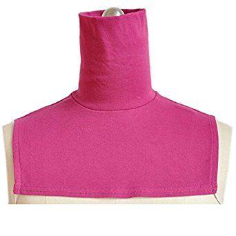 Joyci Pure Cotton Islamic Women's Causal Dickey Faux Turtlenecks Collar (Rose Red) at Amazon Women's Clothing store: