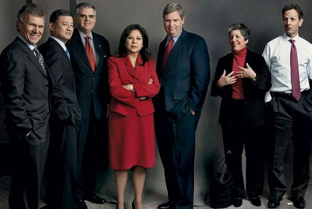 March 2009 Vanity Fair, THE CABINET | From left: TOM DASCHLE, secretary-designate of health and human services; ERIC SHINSEKI, secretary of veterans affairs; RAY LaHOOD, secretary of transportation; HILDA SOLIS, secretary-designate of labor; TOM VILSACK, secretary of agriculture; JANET NAPOLITANO, secretary of homeland security; TIMOTHY GEITHNER, secretary-designate of the Treasury.