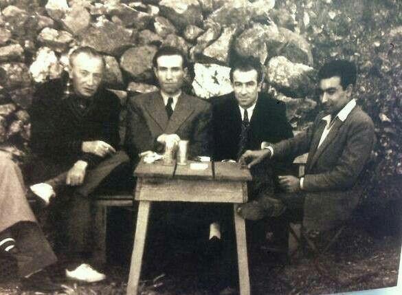 Sait Faik, Mahmut Makal, Orhan Kemal, Yaşar Kemal. Burgaz Ada / Mayıs 1952