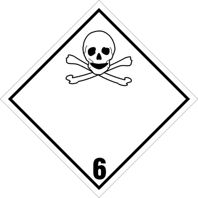 Naklejka Materiały trujące. Oznaczenie stosowane w transporcie materiałów trujących określonych w klasie 6 Umowy ADR. Charakterystyka zagrożenia...