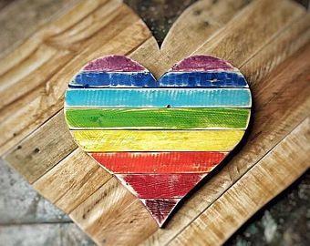 Regenboog hart - rustiek huisdecor, blij, trots, regenboog lgbtq