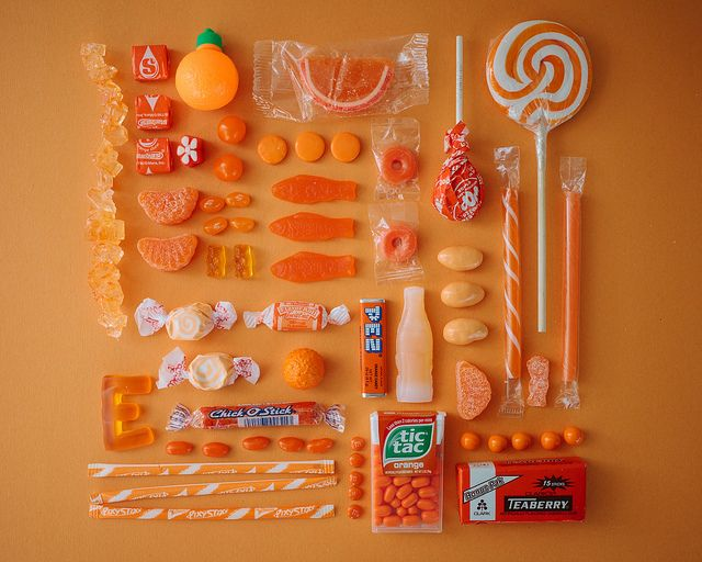 From Emily Blincoe's 'Sugar Series', colors organized neatly: ORANGE. http://emilyblincoe.tumblr.com/