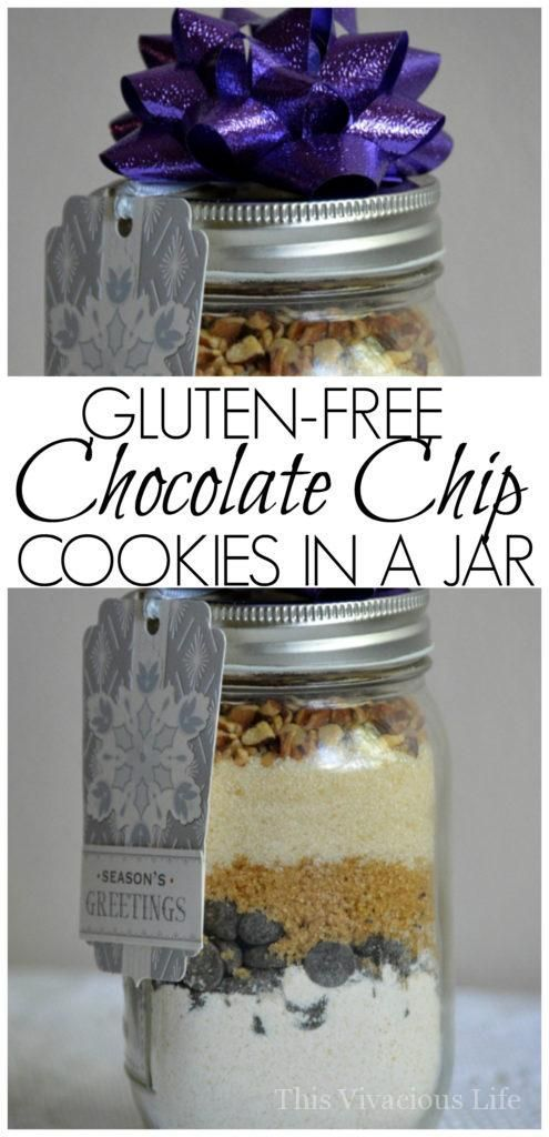 These gluten-free chocolate chip cookies in a jar a great gift for friends and neighbors. Nobody would ever know they are gluten-free.   gluten-free gift ideas   gluten-free cookies in a jar   gluten-free Christmas gift ideas   homemade gluten-free gifts    This Vivacious Life #glutenfreegifts #glutenfreecookies