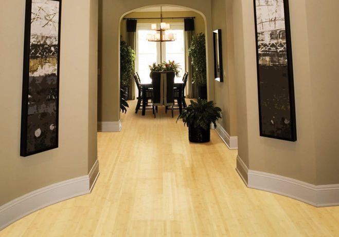 Bamboo Solid Hardwood Floor Horinzontal Laminated Natural Light