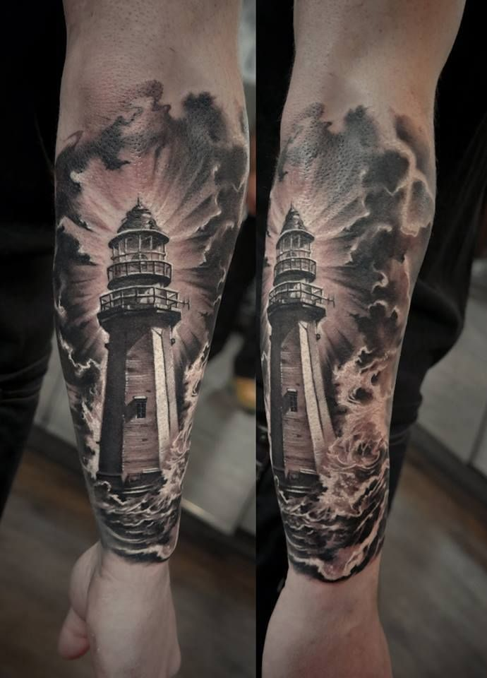 Chronic Ink Tattoo - Toronto Tattoo Lighthouse tattoo done by guest artist Edgar.